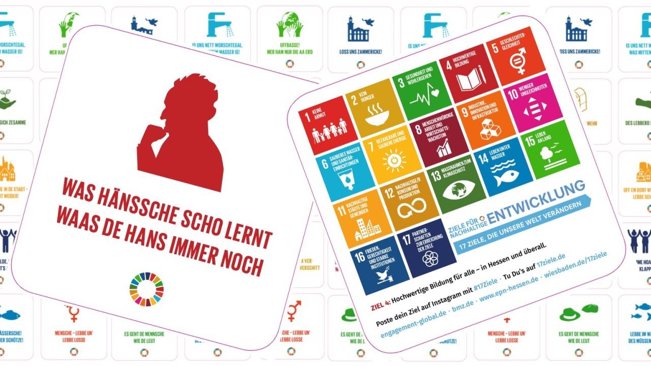 Was Hänssche scho lernt, waas de Hans immer noch - bei einer Bierdeckelkampagne wurden die 17 Nachhaltigkeitsziele der Vereinten Nationen als hessische Sprüche kommuniziert.